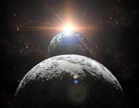 sol y luna: Una vista del planeta tierra, la luna y el sol. Fondo abstracto de regiones distantes. Nueva Era, en el extremo de viajes y el uso de la energ�a solar. Foto de archivo