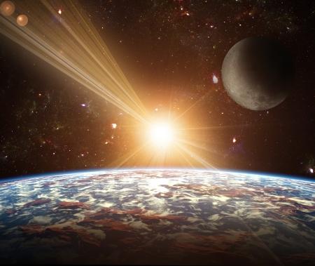 new age: Una vista del planeta tierra, la luna y el sol. Fondo abstracto de regiones distantes. Nueva Era, en el extremo de viajes y el uso de la energ�a solar. Foto de archivo