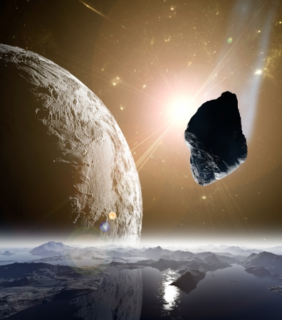 fantasy fiction: Attack of the asteroid on the planet in the universe. Abstract illustration of a meteor impact.