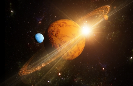 solar system: A view of planet and the universe from the moons surface. Abstract illustration of distant regions.
