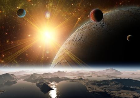 the universe: Una vista del planeta, lunas y el universo de la superficie de la tierra. Ilustraci�n abstracta de regiones distantes. Foto de archivo