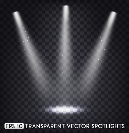 White Transparent Vector Spot Lights / Spotlights Effect For  Party, Scene, Stage,Gallery or Holiday Design Vectores