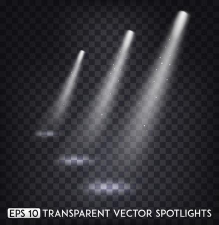 Wit transparant Vector Spot Lights / Spotlight-effect voor feest, scène, podium, galerij of vakantieontwerp