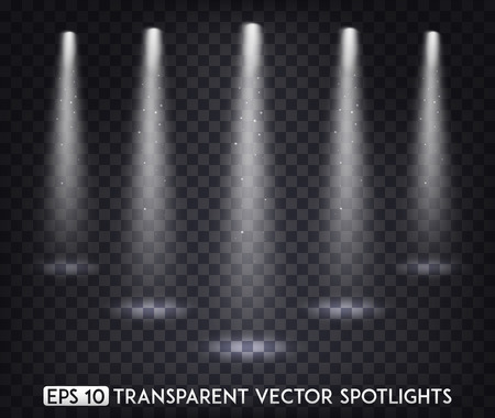 White Transparent Vector Spot Lights / Spotlights Effect For  Party, Scene, Stage,Gallery or Holiday Design Illusztráció