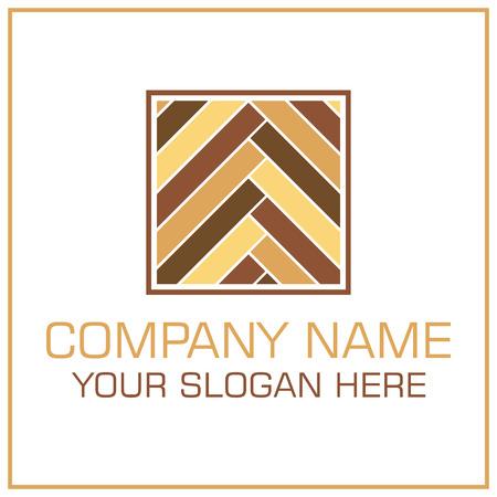 Flat Style Vector Logo Laminate  Parquet for Flooring Company Stock Illustratie