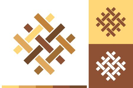 Vector Logo, Icon or Sign with Flooring, Parquet, Laminate, Tiles, Carpentry, Timber Elements in Natural Colors for Business, Company Branding Design or Shop Labels.