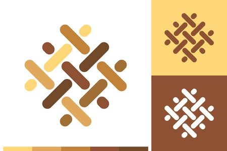 Vector Logo, Icon or Sign with Flooring, Parquet, Laminate, Lumber, Carpentry, Hardwood Elements in Natural Colors for Business, Company Brand Design or Shop Labels.