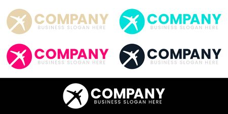 World Travel Globe Airplane Silhouette Logo Design. For Aircraft, Airline or Global Tour Agency and Fly Transportation Company. Flat Symbol Vector Illustration.