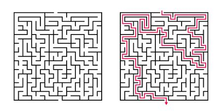 Vector Square Maze - Labyrinth with Included Solution in Black & Red. Funny & Educational Mind Game for Coordination, Problems Solving, Decision Making Skills Test. Vetores