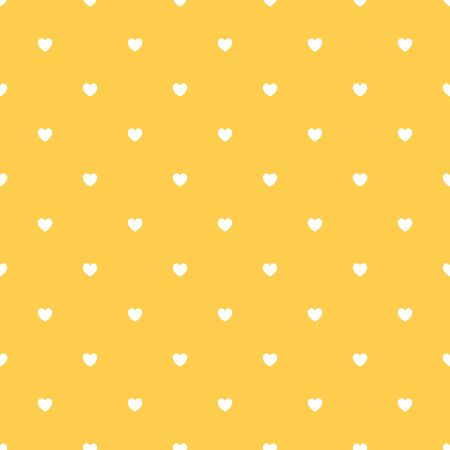 Romantic Yellow Seamless Polka Heart Vector Pattern Background for Valentine Day ( February 14 ), 8 March, Mother's Day, Marriage, Birth Celebration. Lovely Chic Design.
