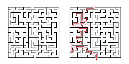 Vector Square Maze - Labyrinth with Included Solution in Black & Red. Funny & Educational Mind Game for Coordination, Problems Solving, Decision Making Skills Test.