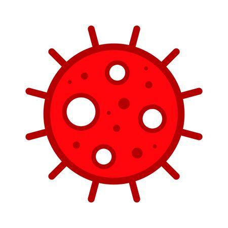 Corona Virus, Covid-19, nCOV, MERS-CoV Novel Coronavirus Cell Stamp. Covid 19 Red Vector. Epidemic Warning Symbol or Sign, Risk Zone Sticker. Asian Respiratory Syndrome Disease.