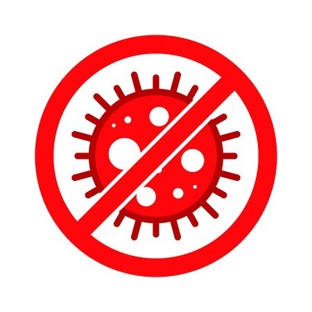 Corona Virus, Covid-19, nCOV, MERS-CoV Novel Coronavirus Stop, Block, Anti Stamp. Red Vector 2019-2020. Warning Sign, Protection Symbol, Risk Zone Sticker. Pneumonia Disease. Covid19 Illustration