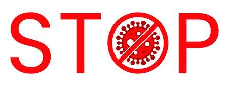 Corona Virus Stop Text Warning Sign. Covid-19, nCOV, MERS-CoV Novel Coronavirus Block Stamp. Red Vector. Protection Symbol, Risk Zone. Pneumonia Disease Pandemic. Covid1