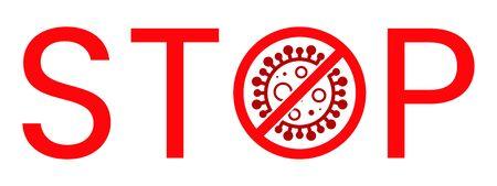 Corona Virus Stop Text Warning Sign. Covid-19, nCOV, MERS-CoV Novel Coronavirus Block Stamp. Red Vector. Protection Symbol, Risk Zone. Pneumonia Disease Pandemic. Covid19