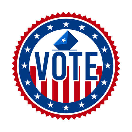 2020 Presidential Election Vote Badge - United States of America. USA Patriotic Stars and Stripes. American Democratic / Republican Support Pin, Emblem, Stamp or Button. November 3