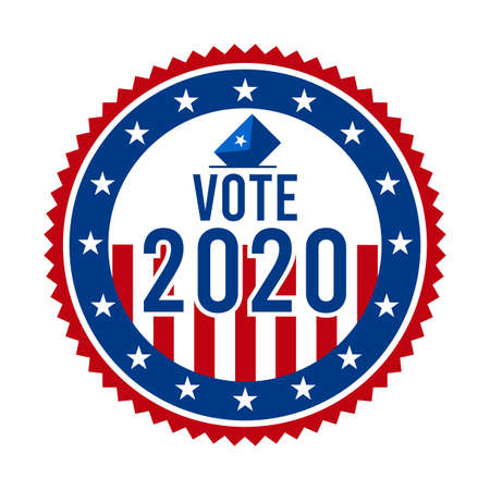 2020 Presidential Election Vote Badge - United States of America. USA Patriotic Stars and Stripes. American Democratic / Republican Support Pin, Emblem, Stamp or Button. November 3 向量圖像