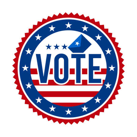 2020 Presidential Election Vote Badge - United States of America. USA Patriotic Stars and Stripes. American Democratic / Republican Support Pin, Emblem, Stamp or Button. November 3 Çizim
