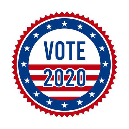 2020 Presidential Election Vote Badge - United States of America. USA Patriotic Stars and Stripes. American Democratic / Republican Support Pin, Emblem, Stamp or Button. November 3 Vektoros illusztráció