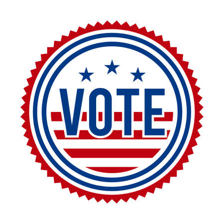 2020 Presidential Election Vote Badge. USA Patriotic Stars and Stripes. United States of America Democratic or Republican President Party Support Pin, Stamp, Brooch or Button. Illustration