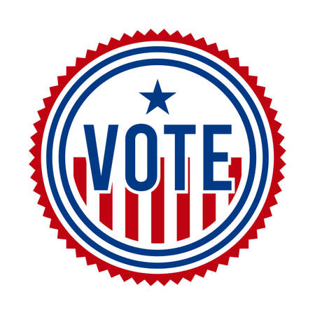 2020 Presidential Election Vote Badge. USA Patriotic Stars and Stripes. United States of America Democratic or Republican President Party Support Pin, Stamp, Brooch or Button.
