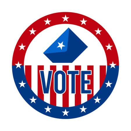 2020 Presidential Election Vote Badge - United States of America. USA Patriotic Symbol - American Flag. Democratic / Republican Support Pin, Emblem, Stamp or Button. November 3 Vektoros illusztráció