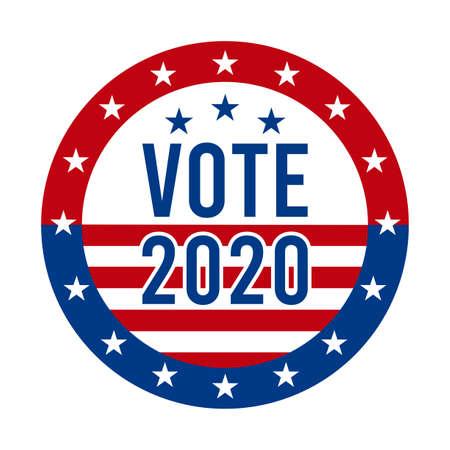 2020 Presidential Election Vote Badge - United States of America. USA Patriotic Symbol - American Flag. Democratic / Republican Support Pin, Emblem, Stamp or Button. November 3 Ilustração Vetorial