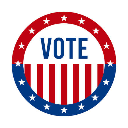 2020 Presidential Election Vote Badge - United States of America. USA Patriotic Symbol - American Flag. Democratic / Republican Support Pin, Emblem, Stamp or Button. November 3