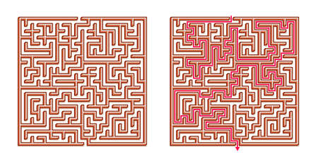 Vector 3D / Isometric Easy Square Maze - Labyrinth with Included Solution. Funny & Educational Mind Game for Coordination, Problems Solving, Decision Making Skills Test. Иллюстрация