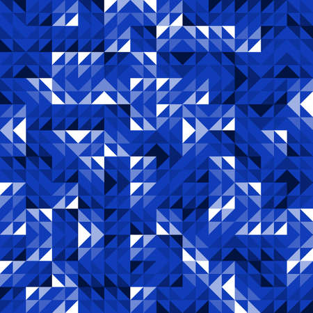 Seamless Blue Geometric Vector Pattern with Triangles. Modern and Elegant Luxury Abstract Background with Triangle Shapes. Bright Repeat Pattern for Fabric, Scrapbook, Brochure, Banner, Business Card