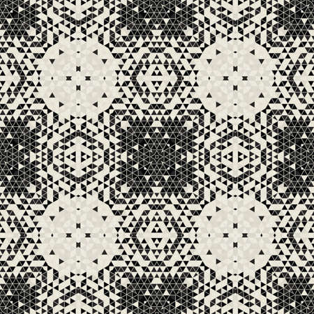 Modern simple geometric seamless pattern background with triangles shapes - black, white. Abstract and elegant fashion design texture for print or digital paper. Grid tile mosaic pattern. Standard-Bild