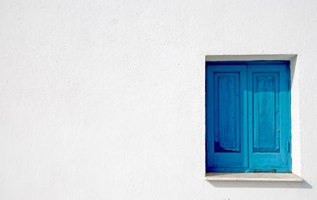 Church  white wall with blue window Stock Photo - 2231084