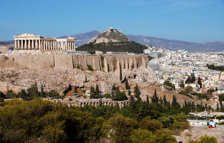 Athens cityscape and Acropolis Hill