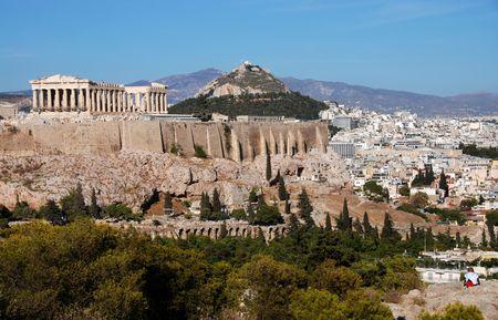 Stadtbild und Athen Akropolis-Hügel  Standard-Bild - 2231094