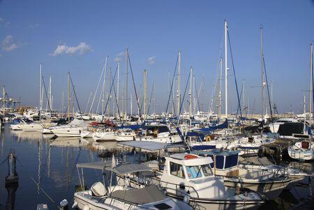 Boats at a busy marina in Larnaca marina Cyprus Stock Photo