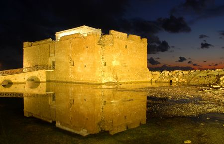 Paphos Castle late late in the evening.