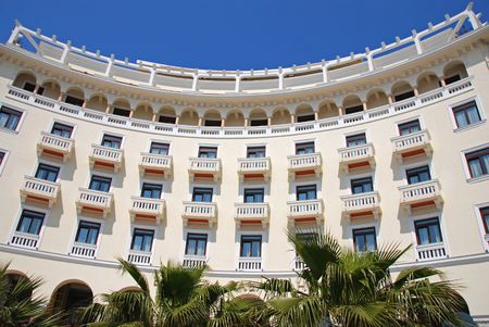 View of luxurious curved hotel balconies                       Editorial