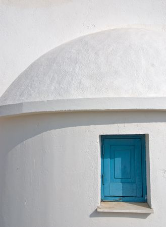 White and blue. Church  white wall with blue window Stock Photo - 2262604