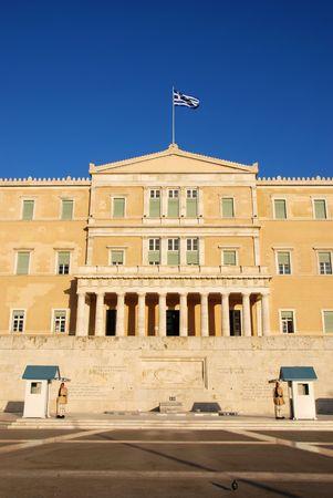 syntagma: Costituzione (Syntagma) quadrato in Grecia con il Parlamento Archivio Fotografico