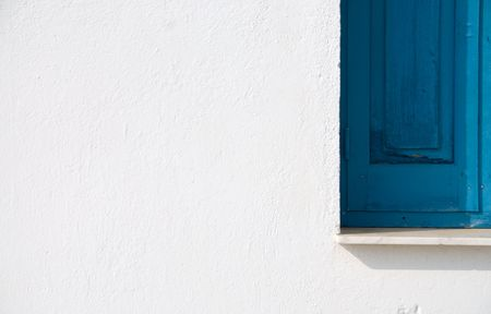 White and blue. Church  white wall with blue window Stock Photo - 2374125