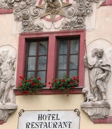 Hotel Window with statues. Captured in Prague, Czech Republic. Stock Photo - 2478916
