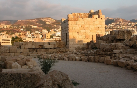 Byblos Castle in Beirut. At the back is the town of Beirut. Stock Photo
