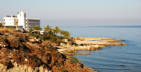 way out:                                     Beach hotel at Paphos area in Cyprus.