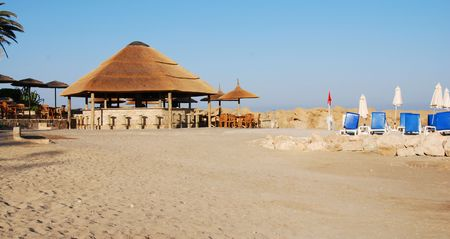 Empty Beach with a beach Pavilion. Paphos- Cyprus         photo