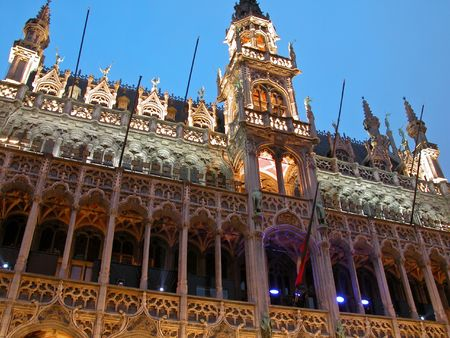 Buildings from Grand Place in Brussels photo