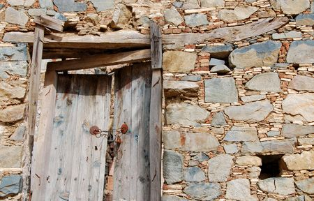 entranceway:                                     Ruins. Wooden abandon entrace closed for the public. Stock Photo