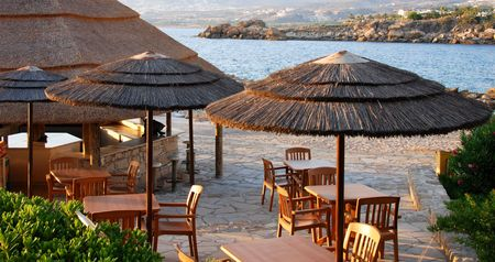 Beach  hotel pavilion from a holiday resort at Paphos area in Cyprus photo