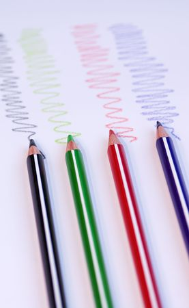 color pencils with colorful lines photo