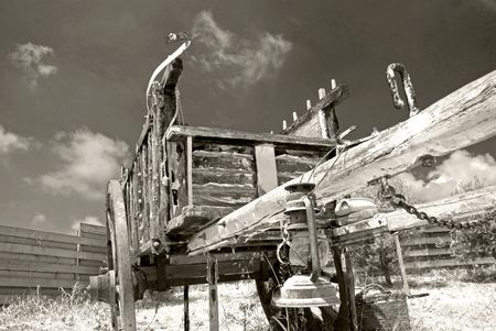 oillamp:                           Old wooden carriage remanding far west times            Stock Photo