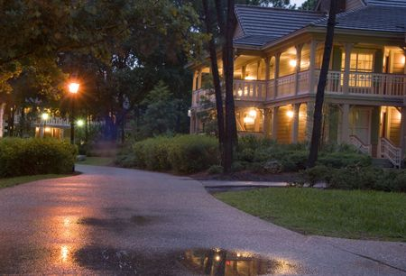 Holiday bungalow late in the evening Stock Photo